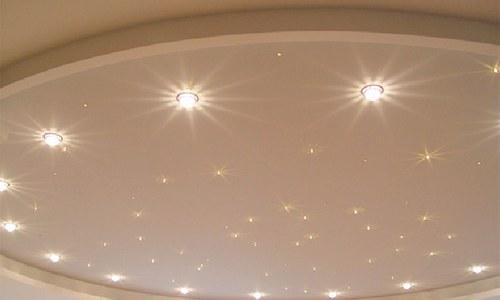 Точечные светильники на натяжных потолках