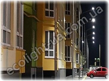 Светодиодное освещение жилого квартала ночью